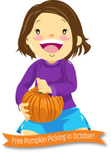 cartoon banner free pumpkin picking October green meadows farm kissimmee fl
